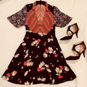 Free People flowy Dress sz 4 colorful pattern boho
